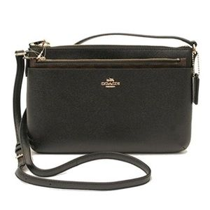 NEW Coach Black Leather Cross Body Bag